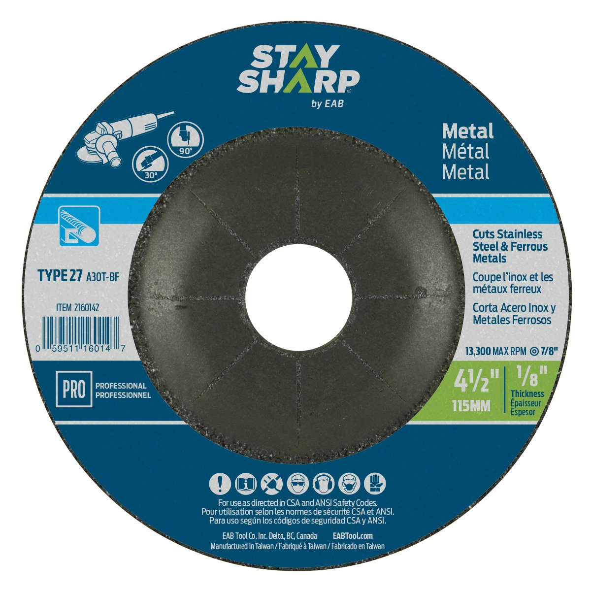 EAB Tool 2160142 4 1/2 x 1/8' Standard Metal Depressed Center Wheel EAB Tool Company USA Inc