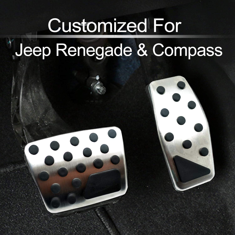 Silberschwarz Edelstahl STZYY Hochleistungs-Auto-Pedal-Pad-Abdeckung f/ür Jeep Renegade Compass 2017-2019 Gaspedal-Bremskupplung Rutschfestes Schutzzubeh/ör