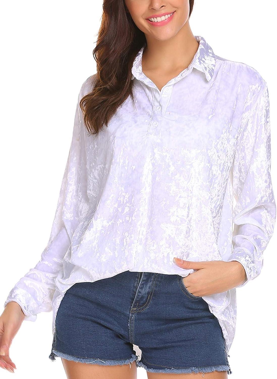 Wildtrest Womens Velvet Shirt Long Sleeve Polo Blouse Loose Tunic Top S-XL