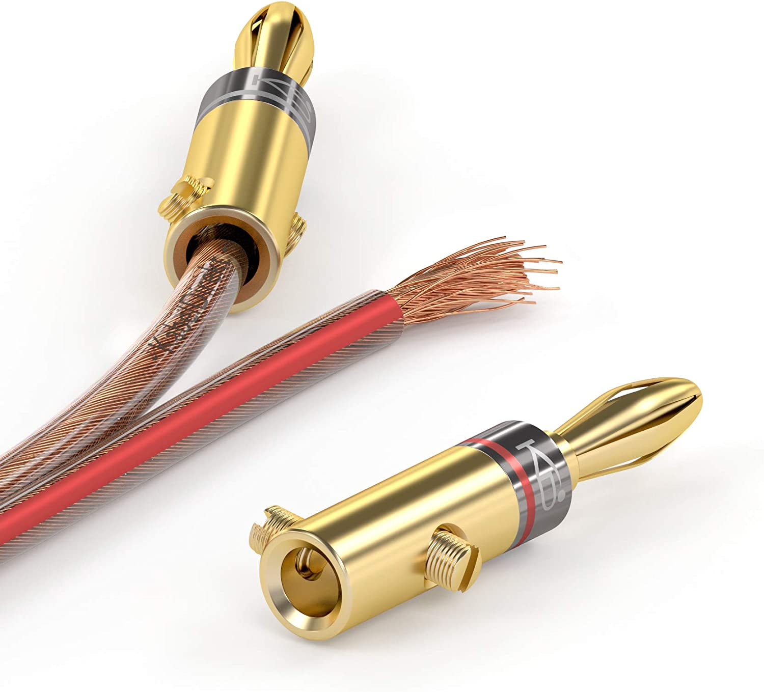 Amplifiers Suitable for Flexible Connection of the Cable to Hi-Fi Boxes 11-16 AWG AV Receivers and Sound Systems 10 Pair KabelDirekt Banana Plug Connector 24K Gold-Plated Screwable