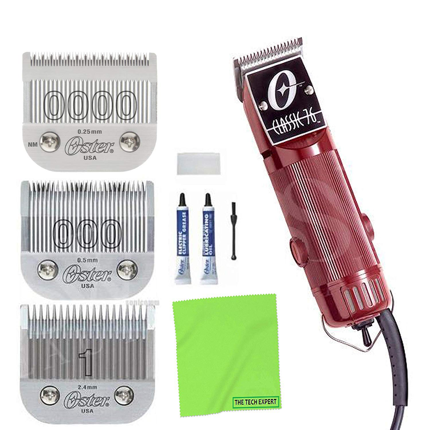 OSTER Classic 122 Universal Motor Hair Clipper + 122 Detachable Blades - #12,  12 and # 120 and Cleaning Cloth