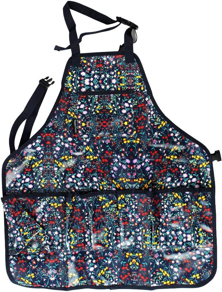 HappyPicnic Garden Tools Apron, Waterproof Artist Work Bib with Pockets, Full Coverage Utility Harvest Apron, Hand Tool Organizers, Gardening Carpentry Lawn Care Accessories One Size Fits All