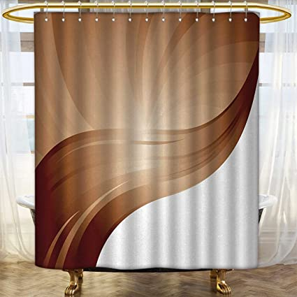Anhounine Chocolate Shower Curtains Waterproof Long Spiraling Stripes With Monochrome Tones Modern Art Inspirations Abstract Satin