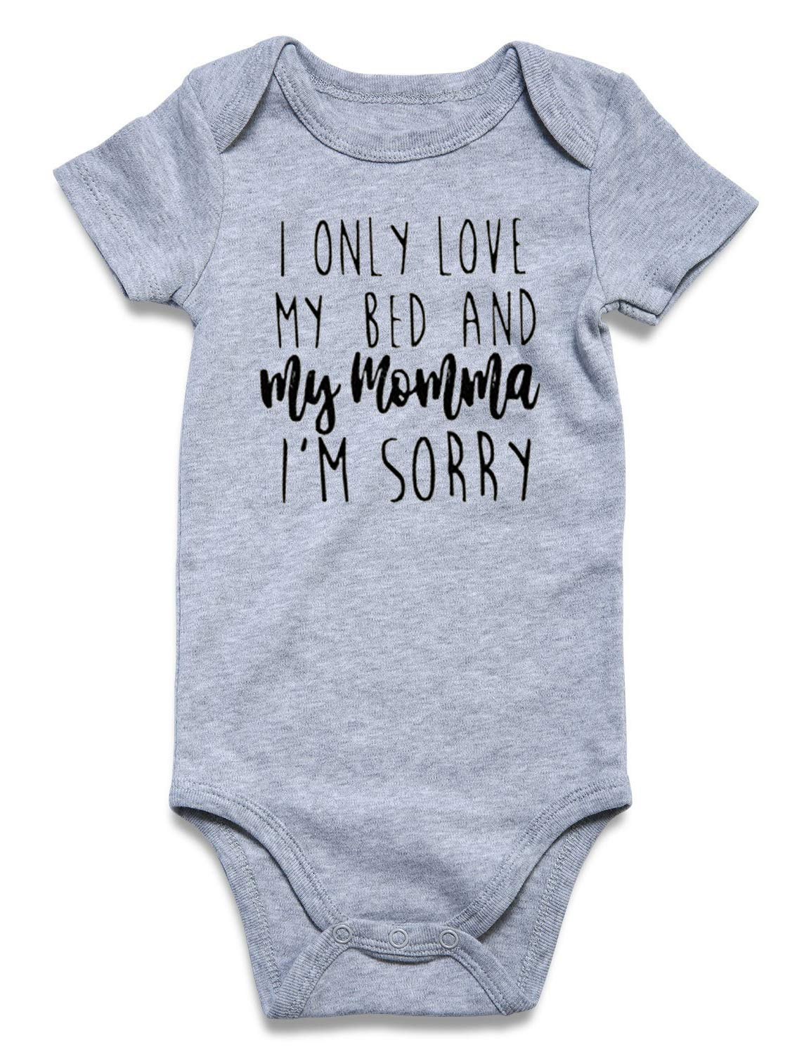 BFUSTYLE Funny Onesies Girl I Only Love My Bed and My Momma Im Sorry Outfits, Halloween Christmas Baby Gift
