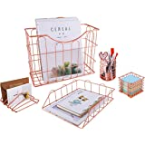 Superbpag Rose Gold Office Supplies 5 in 1 Desk Organizer Set - Hanging File Organizer, File Tray, Letter Sorter, Pencil…
