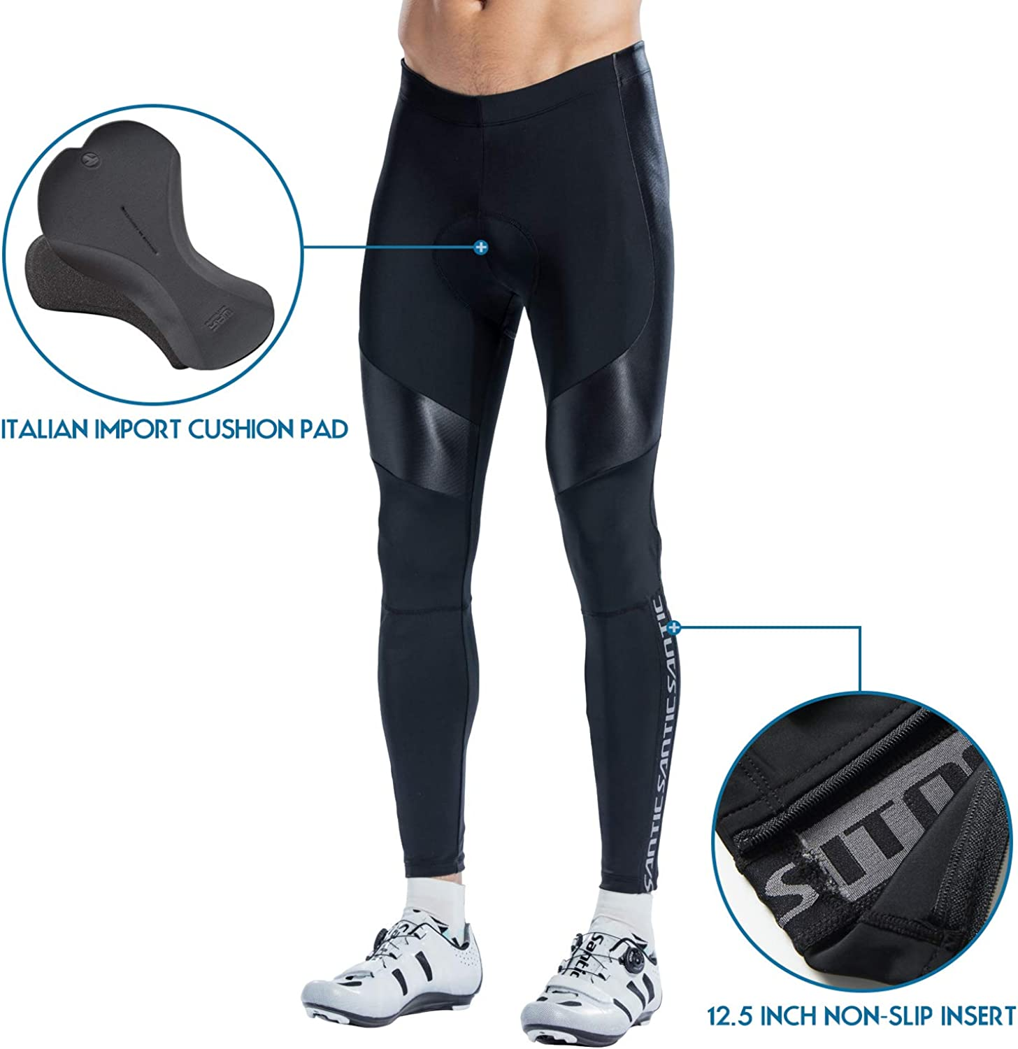 Santic Mens Cycling Bike Pants 4D Padded Long Bicycle Compression Tights Breathable Leggings