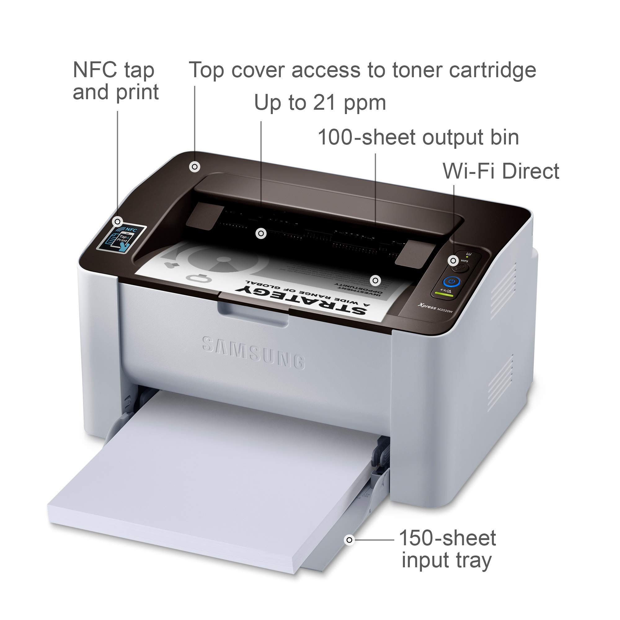 Samsung Xpress M2020W Wireless Monochrome Laser Printer with Simple NFC + WiFi Connectivity (SS272H) (Renewed) by HP (Image #2)