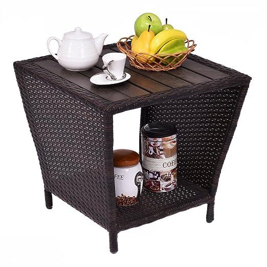 vengaconmigo Table Basse en Résine Tressée Carré 50 x 50 x ...