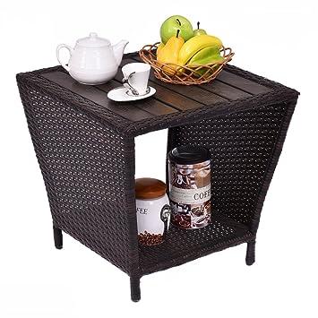 COSTWAY Table Basse de Jardin Table d\'Appoint en Résine ...
