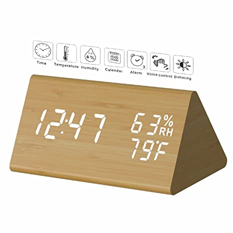 Amazon.com: Reloj despertador digital de madera de micar con ...