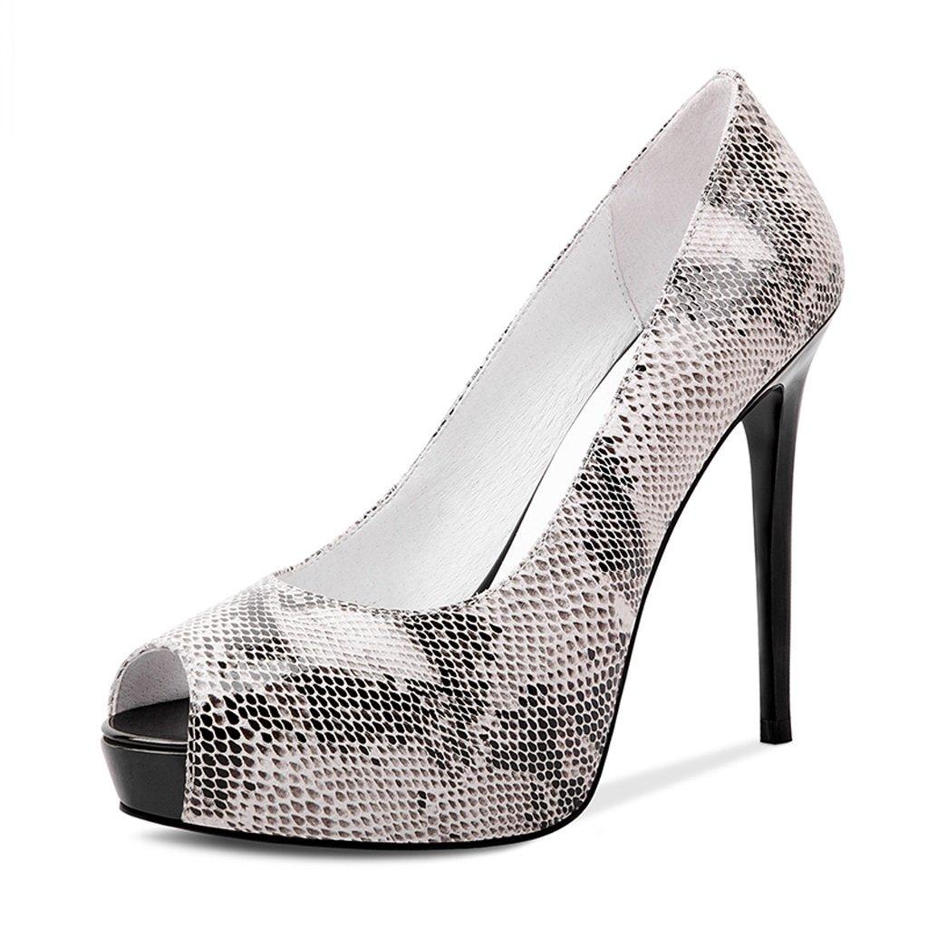 JE schuhe Wasserdichte Plattform Fisch Mund Schuhe fein mit High Heels Damenschuhe (Farbe   Grau größe   34)