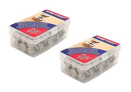 intervisio | Juego de 48 imanes de neodimio para pizarras magnéticas, blancas, mapas | Chinchetas potentes con imán en forma de cono Ø 12 x 16mm per ...
