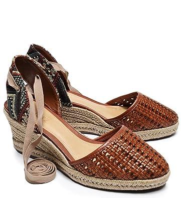 e7b0a4d0c93 SCHUTZ Dieniffer Caramel Woven Leather Espadrille Mid Wedge Tie Up Sandal ( 5.5)