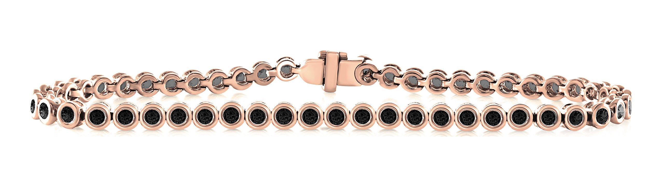14K Rose Gold 2.00 Carat (ctw) Natural Real Round Cut Black Diamond Tennis Bracelet For Women 7 Inches