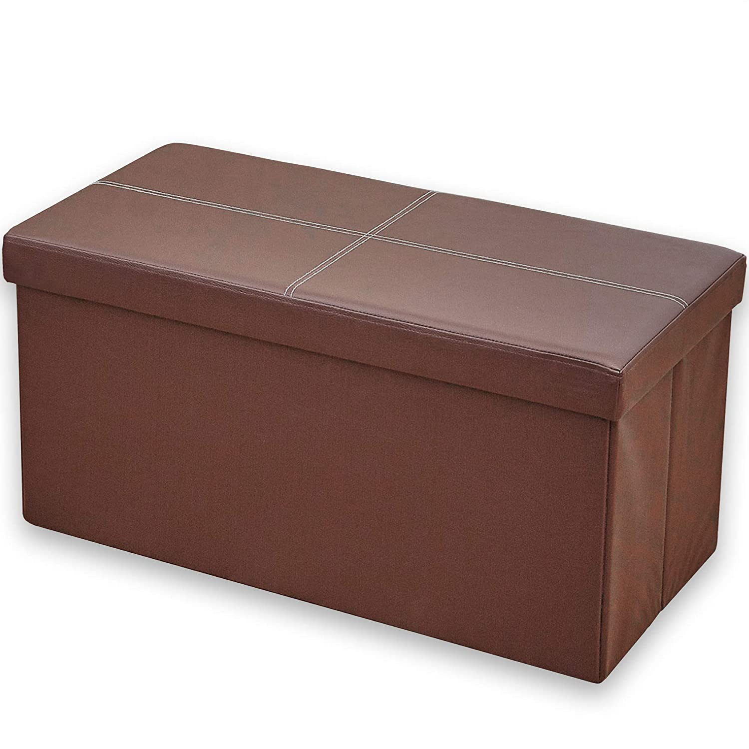 Andrew James Folding Ottoman Storage Box | Perfect for Bedrooms Living Rooms Hallways | 76cm L x 38cm W x 38cm | Faux Leather | Easy to Fold Away | Use as Footstool Bench or Pouffe
