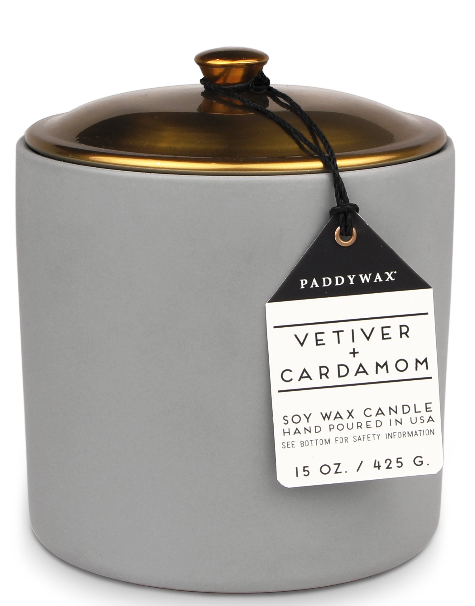 Paddywax Hygge Collection Scented Soy Wax Candle, 15-Ounce, Vetiver & Cardamom