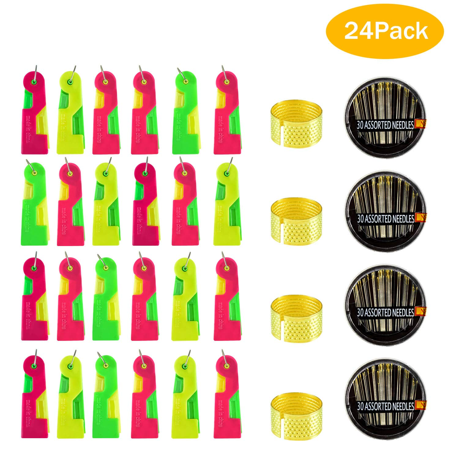 Solve Frustrating Needle Threading Problem 24Pack Random Color Fit for Kids Young and Elder Easy Use /& Carry Automatic Needle Threading Device,Self Threader for Hand Stitching and Sewing Machine