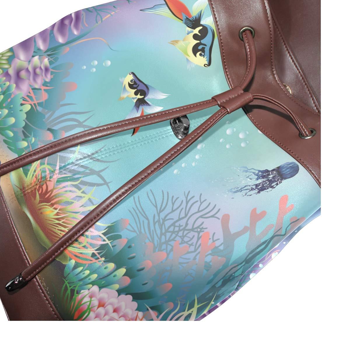 PU Leather Backpack Ornamental Fish drawstring for Travel Rucksack Daypack Casual Duffel Shoulder Bag