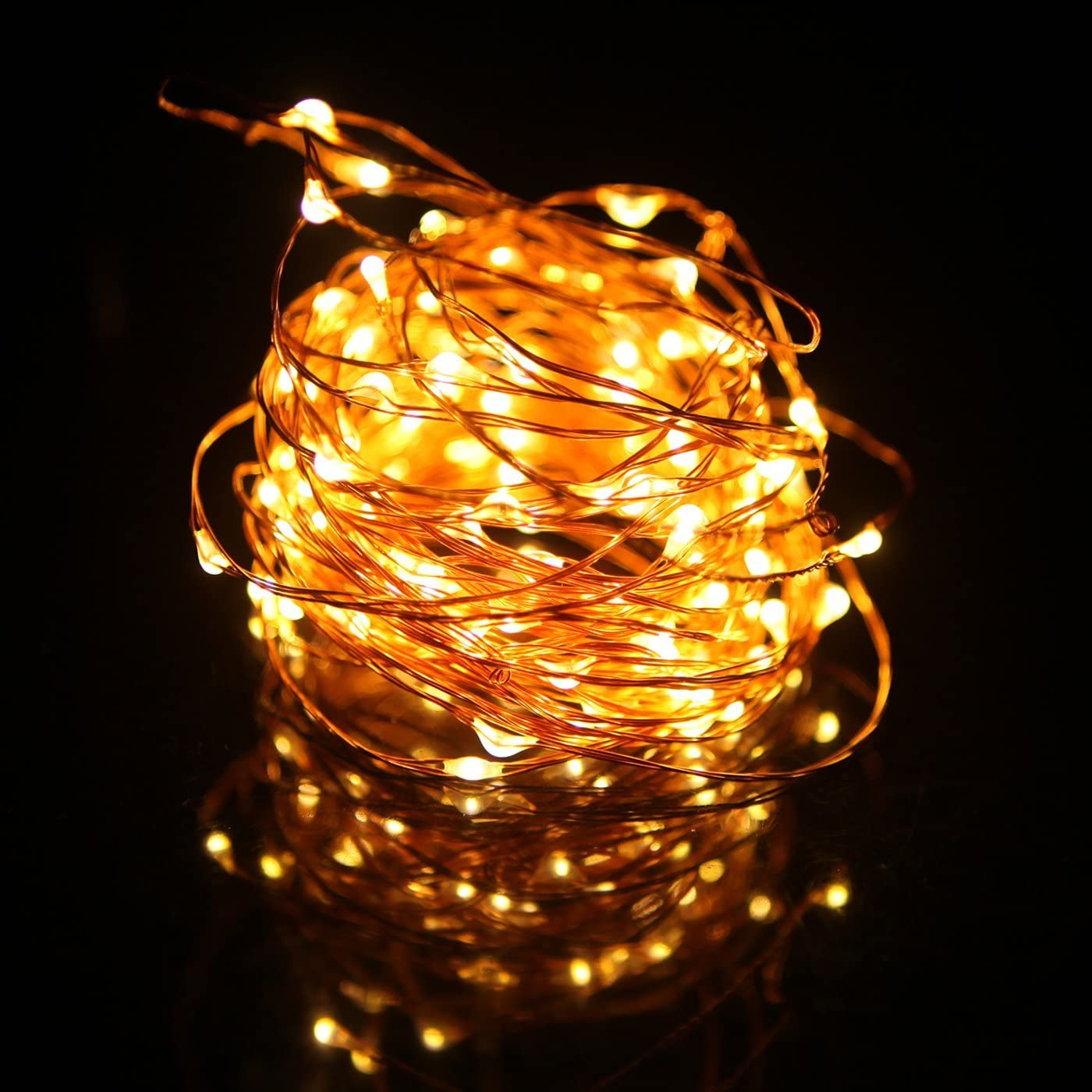 HDE Waterproof LED String Lights [Flexible Copper Wire] Indoor Outdoor Lighting Fairy Light Strand with Power Adapter - College Dorm Room Accessory (33 feet) - Warm White