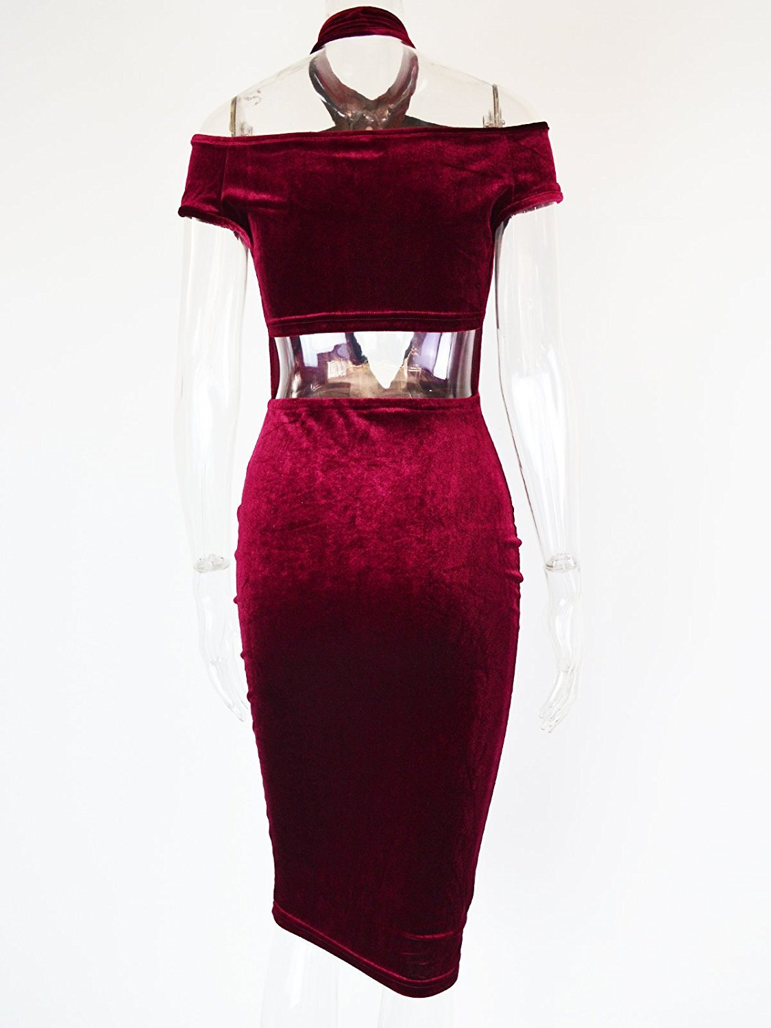 Women\'s Sexy Halter Off Shoulder Velvet Midi Club Bodycon Dress Burgundy M