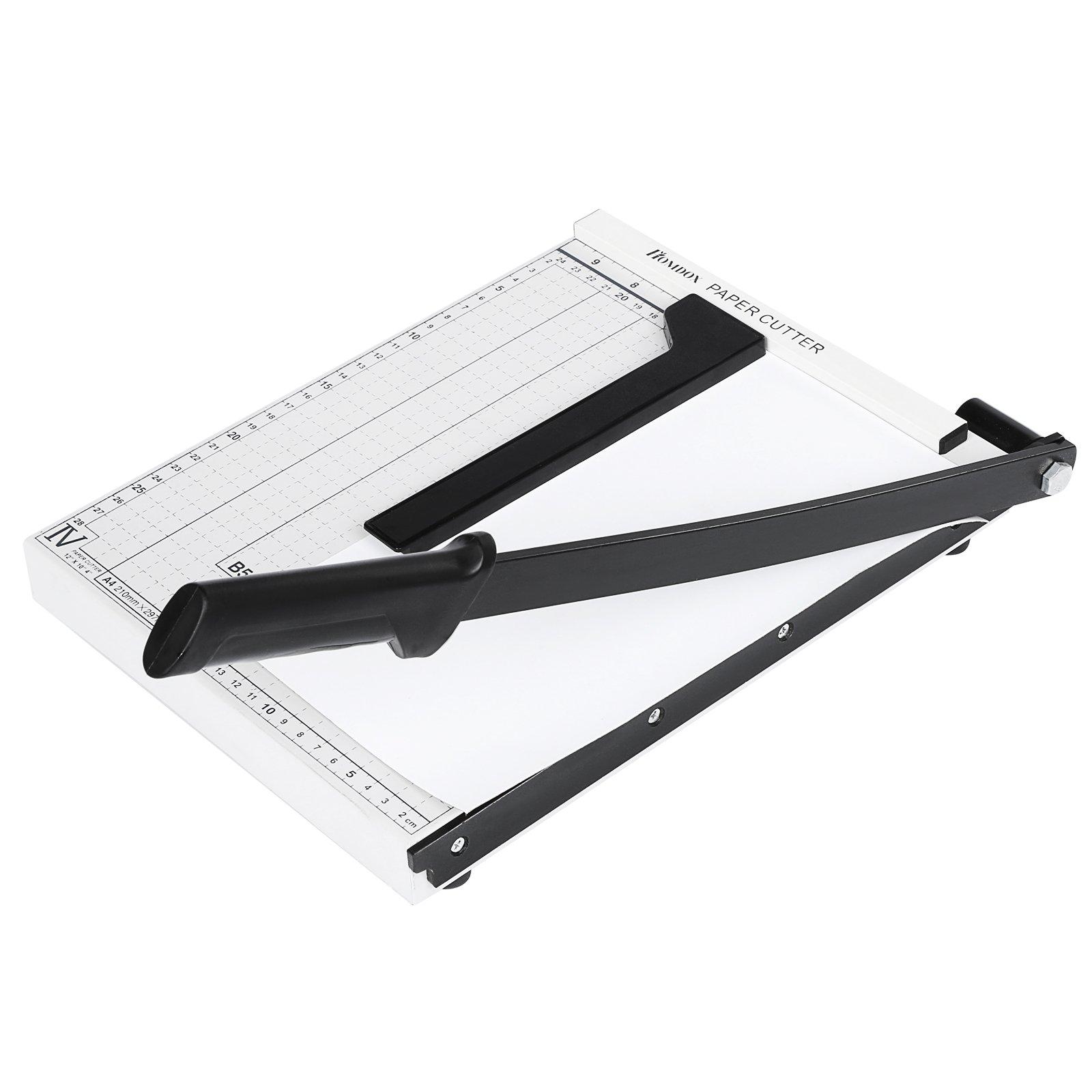 shaofu Paper Trimmer/Cutter, Guillotine, Durable Plastic Base, 10 Sheets Capacity, ClassicCut Lite (White)