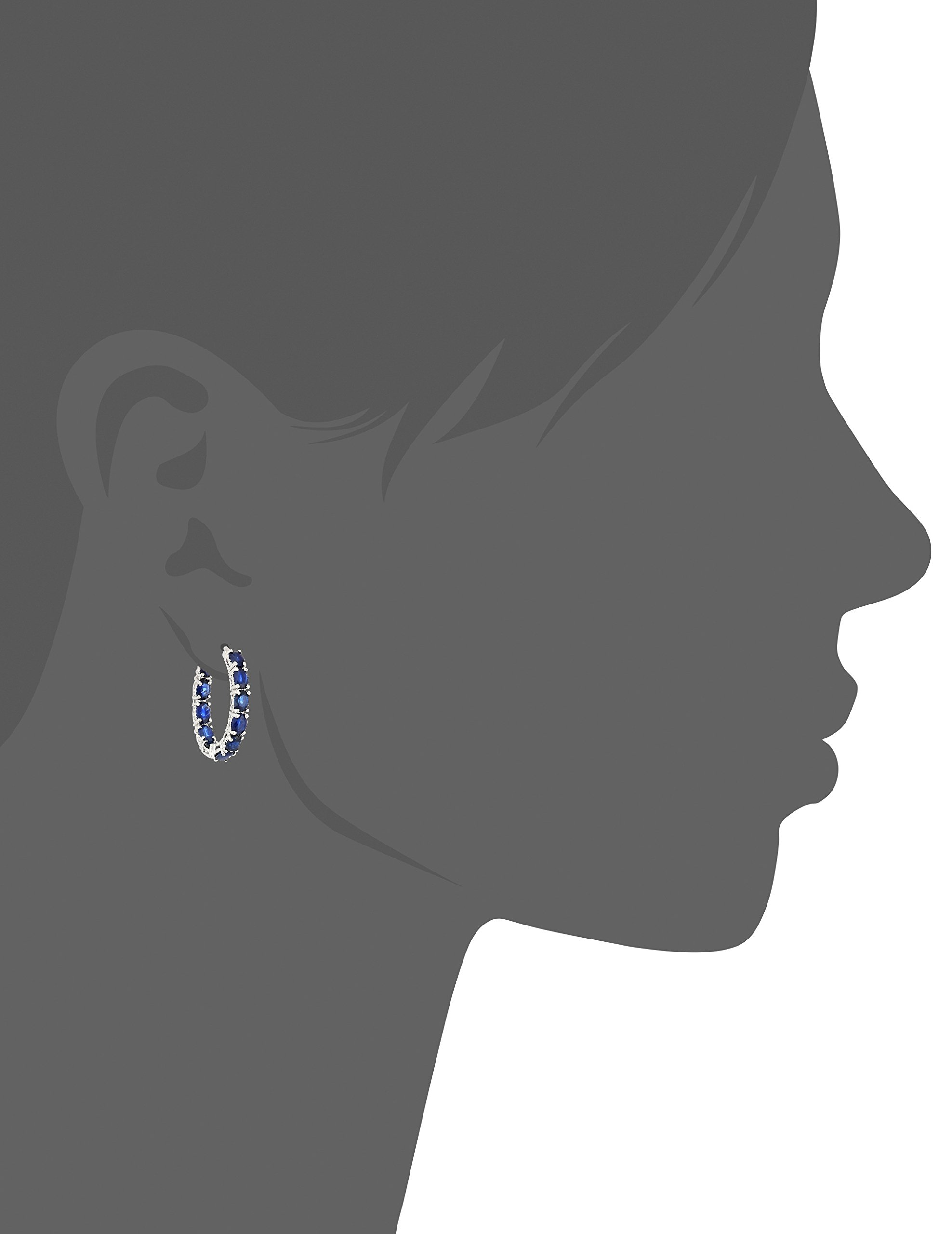 Sterling Silver Genuine Blue Sapphire Oval Inside Out Hoop Earrings, 0.75'' by Amazon Collection (Image #2)