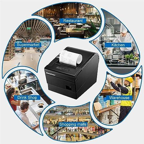 Excelvan - Impresora térmica de 80 mm y 300 mm/s, impresión de ...