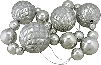 Northlight Oversized Shatterproof Shiny Christmas Ball Garland with Glitter Accents, 6', Silver