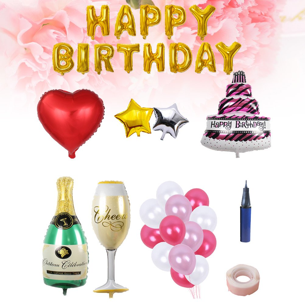 BESTOYARD Happy Birthday Cake Champagne Cup Bottle Foil Balloon Birthday Party Pack by BESTOYARD (Image #3)
