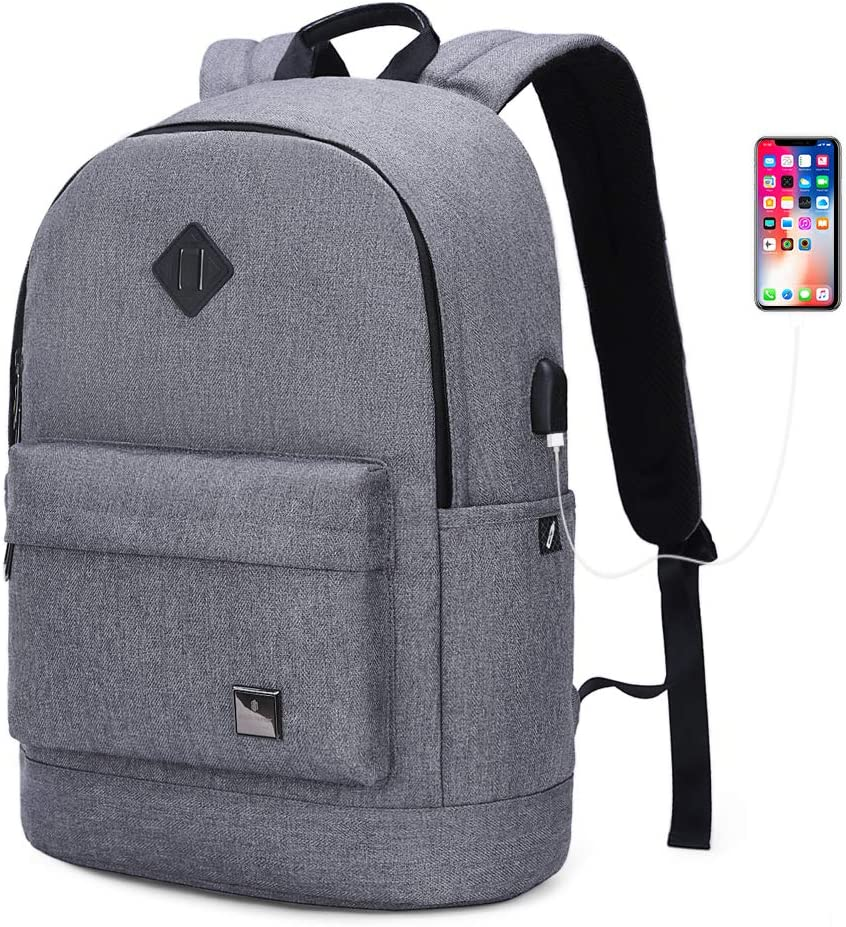 Travel Laptop Backpack 15.6 inch For Men Women, College High School Student Bookbag For Teen,Little Casual Daypack Work Classical Backpack Grey