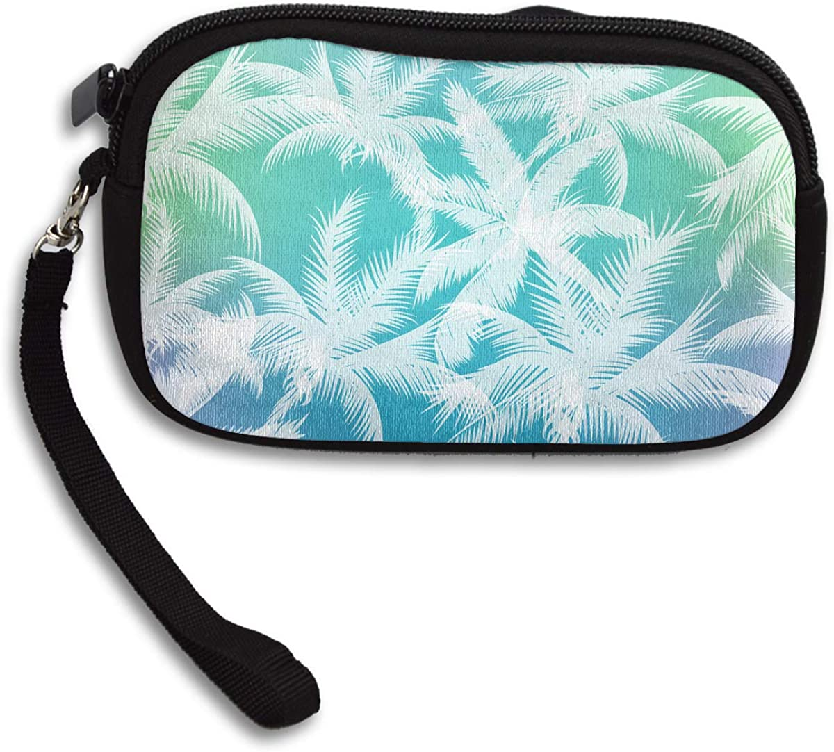 Palm Trees Pattern Coin Purse Cute Change Purse,Make Up Bag,Cellphone Bag With Handle Purses For Women