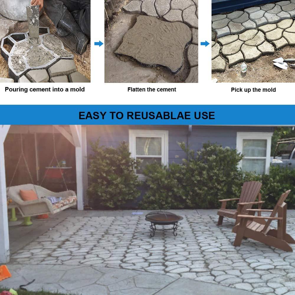 CJGQ Walk Maker Reusable Concrete Path Maker Molds Stepping Stone Paver Lawn Patio Yard Garden DIY Walkway Pavement Paving Mould