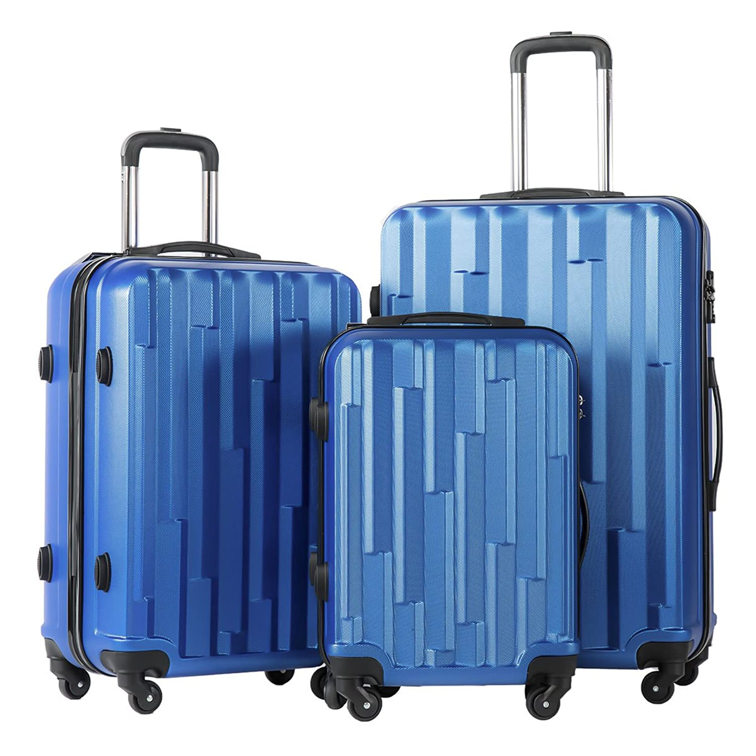 Amazon.com | Coolife 3 Piece Luggage Suitcase Hardside Spinner set ...