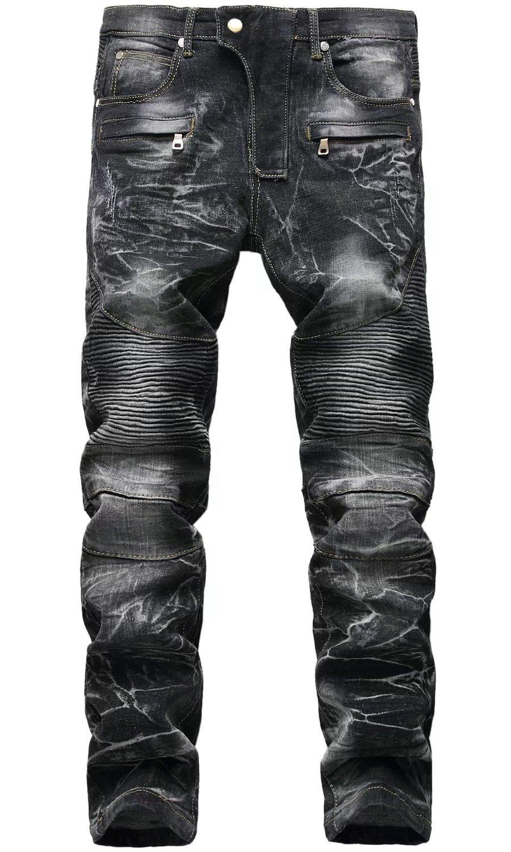 Men's Retro Distressed Moto Biker Jeans with Zipper Pockets Black 40