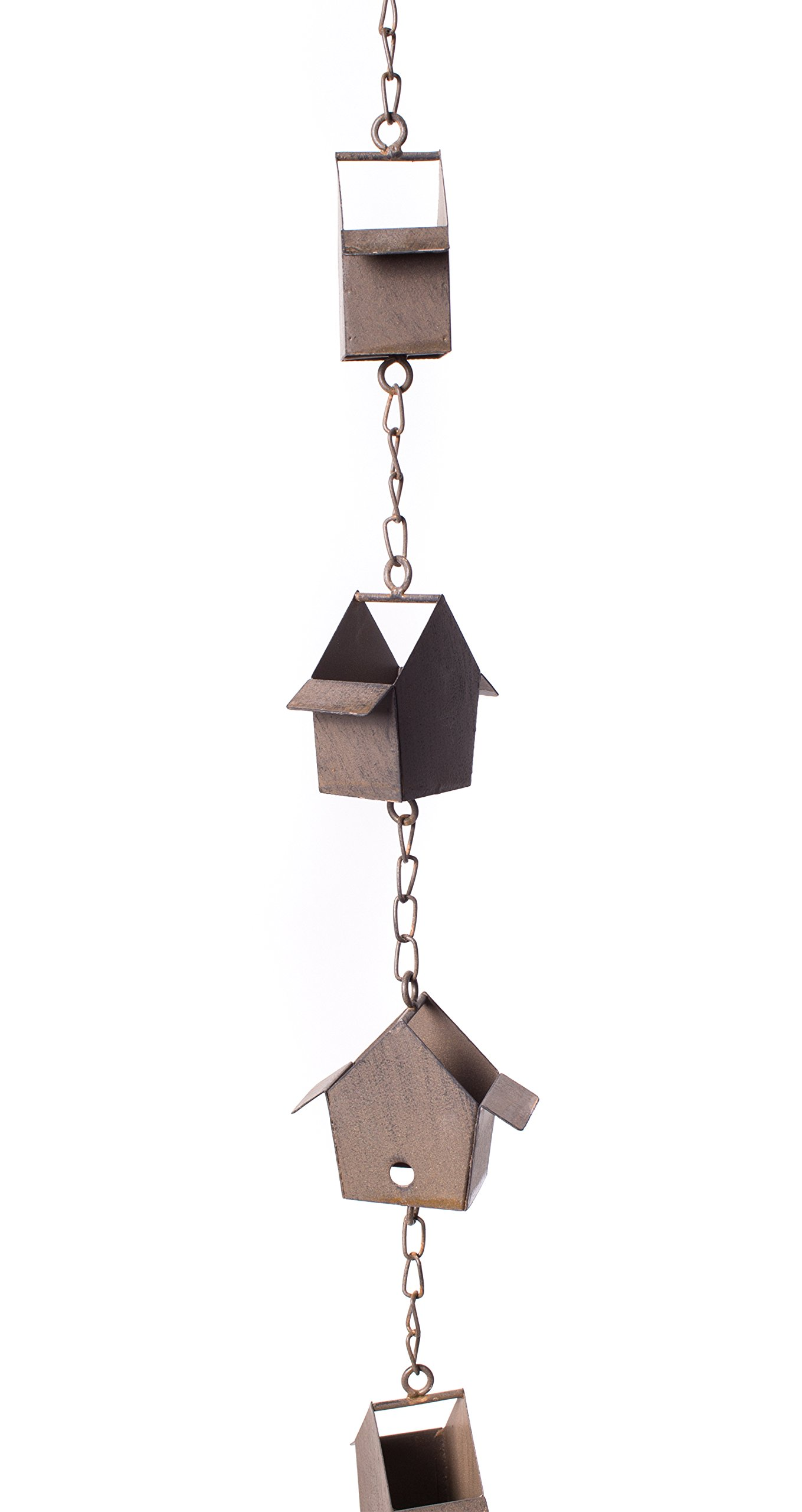 Red Co. Wonderful Decorative Metal Birdhouse Rain Chain, Iron Rain Catcher Ornament, Bronze Finish, Large 5 Feet