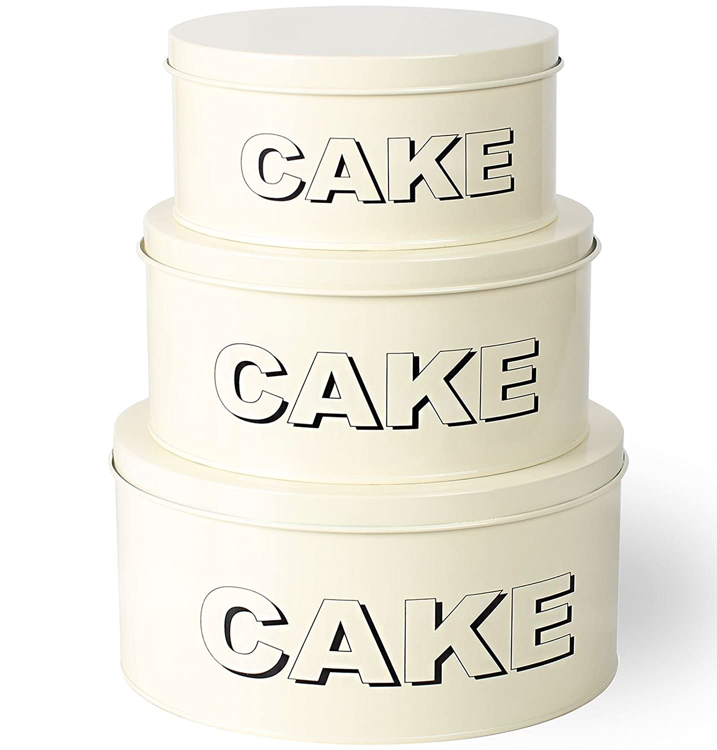 3 Piece Set Shabby Chic Metal Cake Muffin Tin Storage Containers Small - Medium - Large Cake Container Set CrazyGadget®