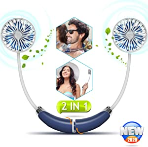 Portable Hanging Neck Sports Fan - Hands Free USB Rechargeable Personal Wearable Neckband Fan Battery Operated with 2 Level Air Flow Headphone Design Cooling Head Fan Mini Necklace Fan for Office
