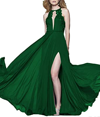 LUBridal Womens High Neck Lace Chiffon Long Prom Dresses Sexy Slit Open Back Evening Gown Green