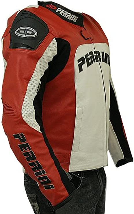 Perrini Tornado Motorcycle Leather Jacket Racing Jacket w// hump Hard Armour Red