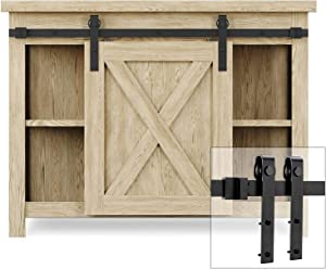 EaseLife 3.3 FT Cabinet Mini Sliding Barn Door Hardware Track Kit,Easy Install,Slide Smoothly Quietly,Apply for Storage Window TV Stand Closet(No Cabinet)