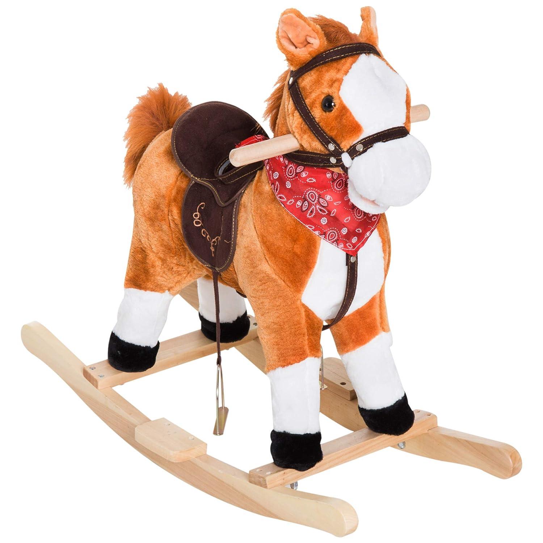 Melissa Doug 2137 Plush Rocking Horse Wooden Base And