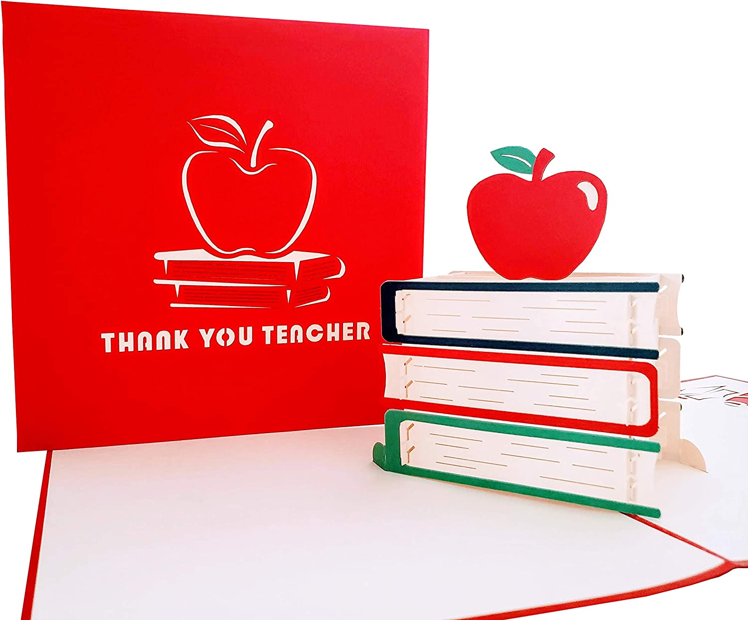 iGifts And Cards Awesome Thank YouTeacher3D Pop Up Greeting Card - Appreciation, Book, Wonderful, Happy, Unique, Cool, Apple, Fun, Blank, School, Gift, Gratitud, Caring, Thanks