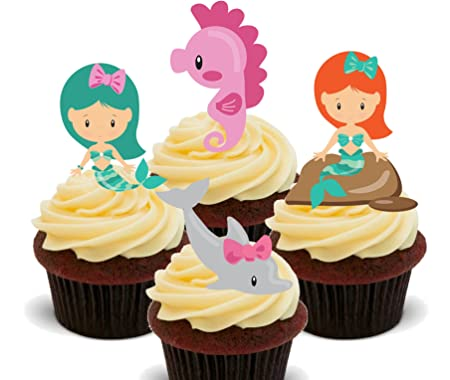 Mermaid, Dolphin And Seahorse, Edible Cupcake Toppers   Stand Up Wafer Cake  Decorations