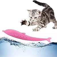 Mumoo Bear Catnip Toys - Cat Fish Shape Toothbrush with Catnip - Cat Teething Chew Toys