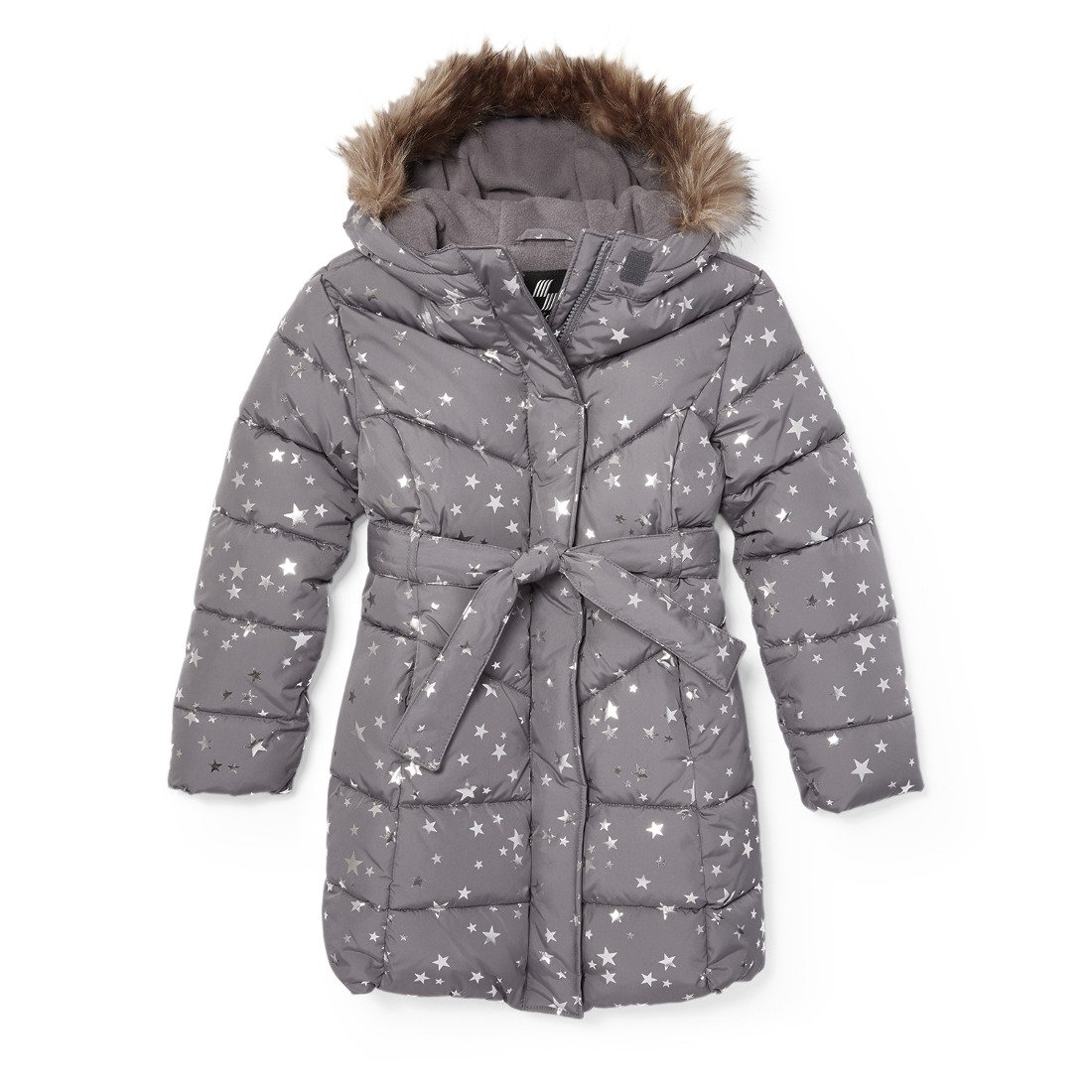 The Children's Place Girls Printed Long Puffer Jacket, Steamboat 86925, XXL(16)