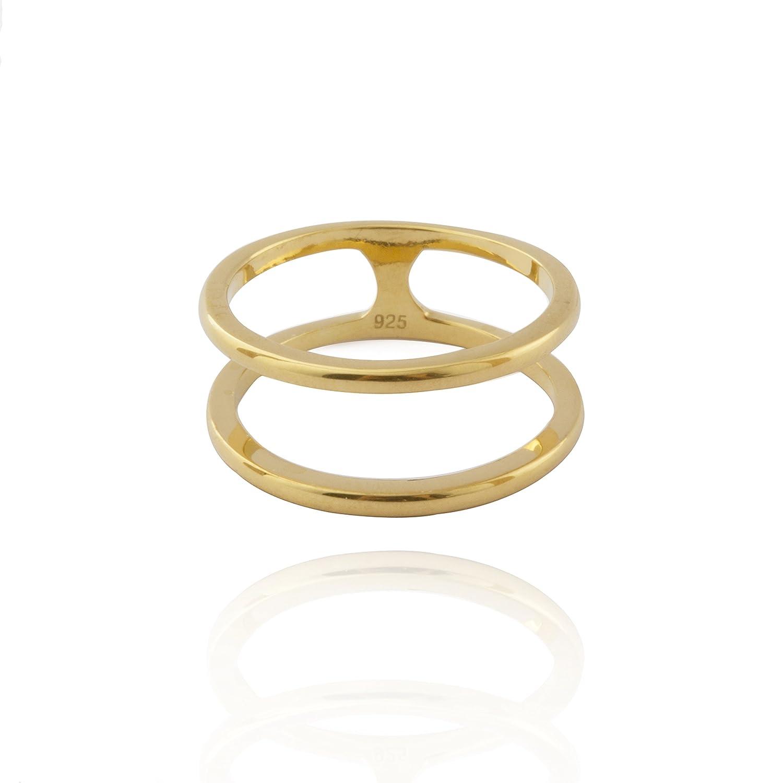 Plata de Ley 925 oro placa doble banda barra de jaula anillo de ...