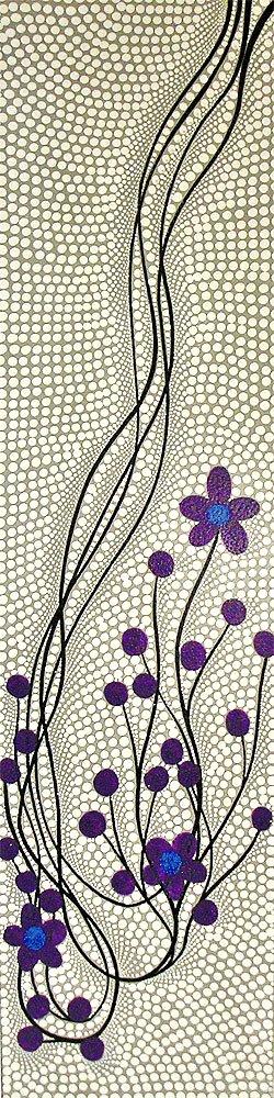 バリ ドットペイントアート 縦 白グレー紫 お花 120cmx30cm アジアン雑貨 並行輸入品【ノーブランド品】 [並行輸入品] B01EF2YSM4