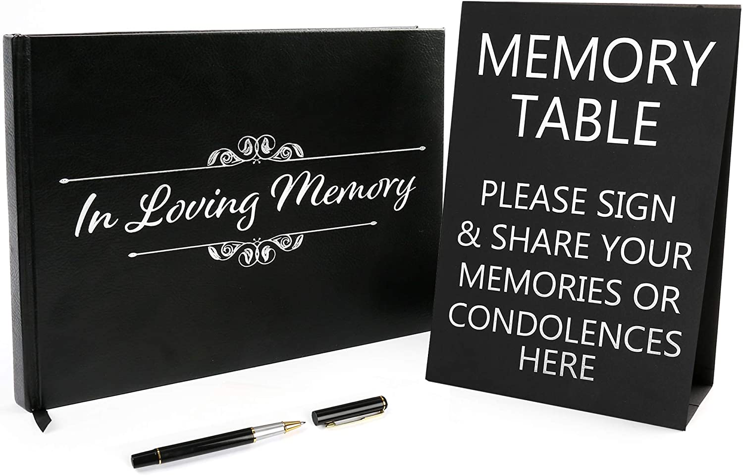 """LotFancy Funeral Guest Book, with Pen and Table Sign, 10.2"""" X 7.8"""" Guest Sign in Book for Memorial Service, 130 Pages, Black Leather Cover, in Loving Memory in Silver Foil, Photo Corners Included"""