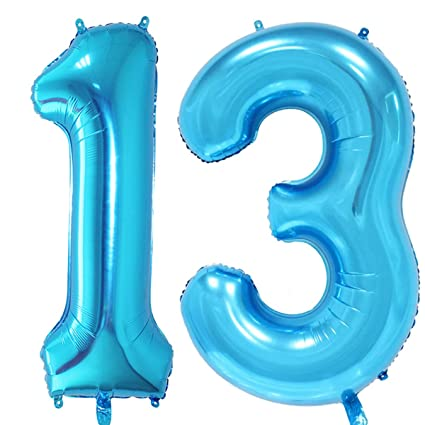 MAGJUCHE 40 Inch Blue Foil 13 Helium Jumbo Digital Number BalloonsBlown Up With