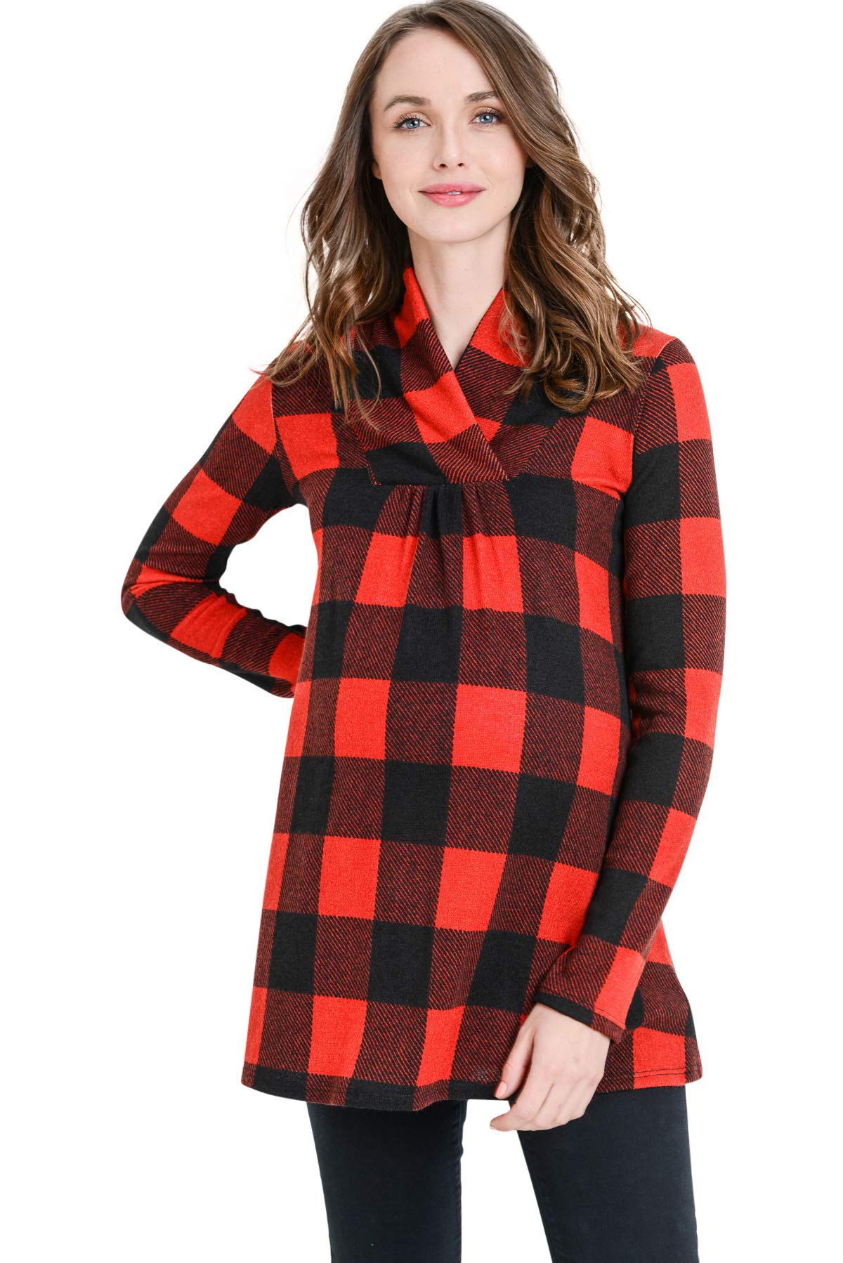 Hello MIZ Women's Sweater Knit Maternity Long Sleeve Tunic Top (Red/Black Plaid, L)